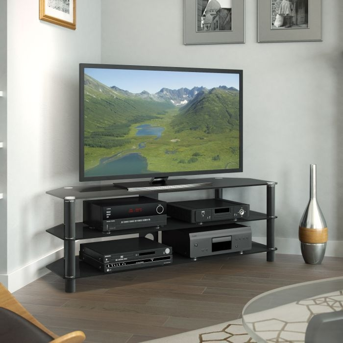 Amazing Widely Used Black Corner TV Stands For TVs Up To 60 For Black Glass Corner Tv Stand For Tvs Up To  (Image 6 of 50)