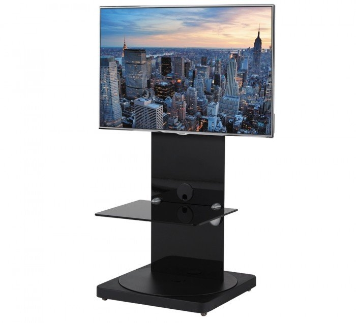 Amazing Widely Used Cantilever TV Stands Inside Btf810b Square Based Black Cantilever Tv Stand With Swivel (Image 3 of 50)