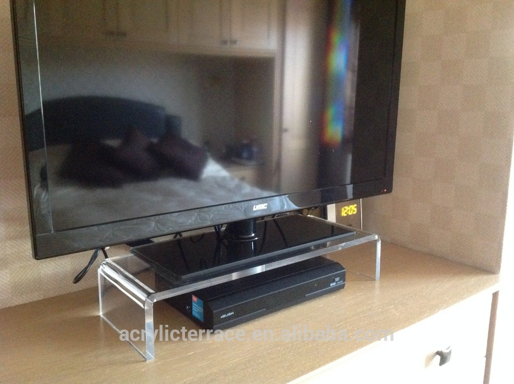 Amazing Widely Used Clear Acrylic TV Stands Within Large Clear Acrylic Lucite Perspex Monitor Pc Tv Stand Buy (Image 6 of 50)