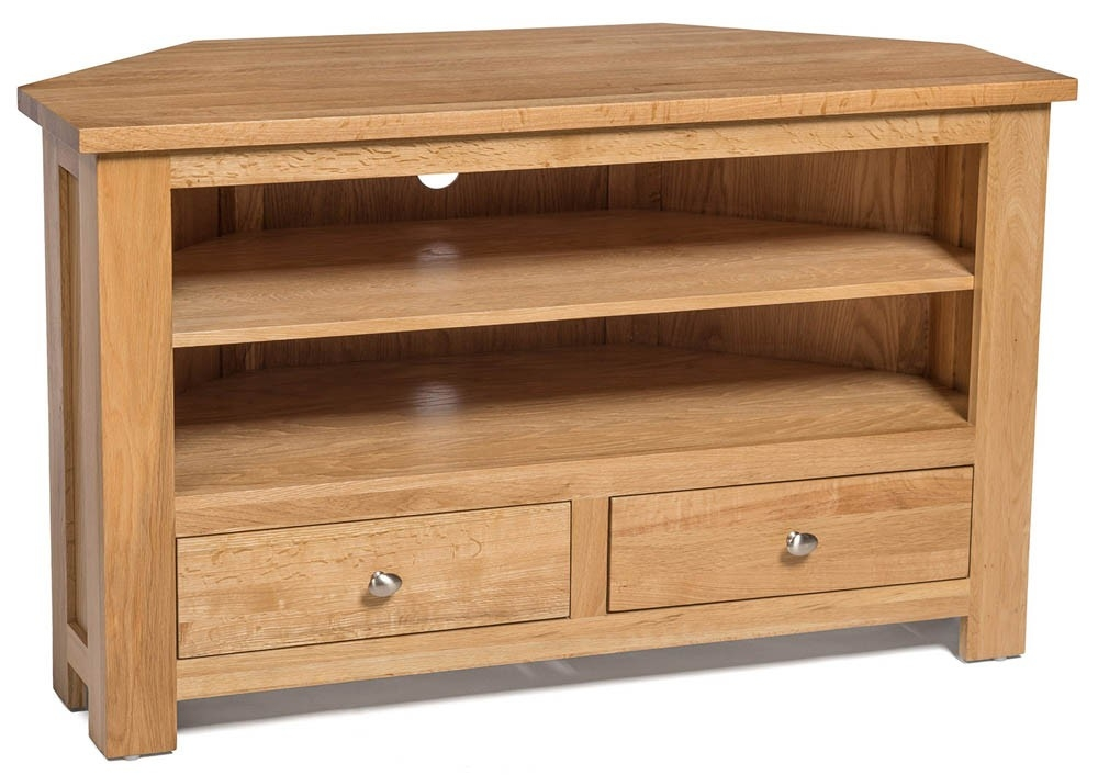 Amazing Widely Used Dark Wood Corner TV Cabinets For Waverly Oak 2 Drawer Corner Tv Stand Unit Hallowood (Image 4 of 50)