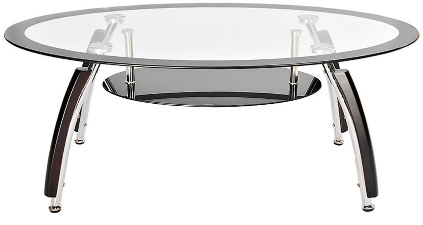 Amazing Widely Used Elena Coffee Tables Within Oval Glass Coffee Table Black Trim 6997 With Free Next Day (Image 7 of 40)
