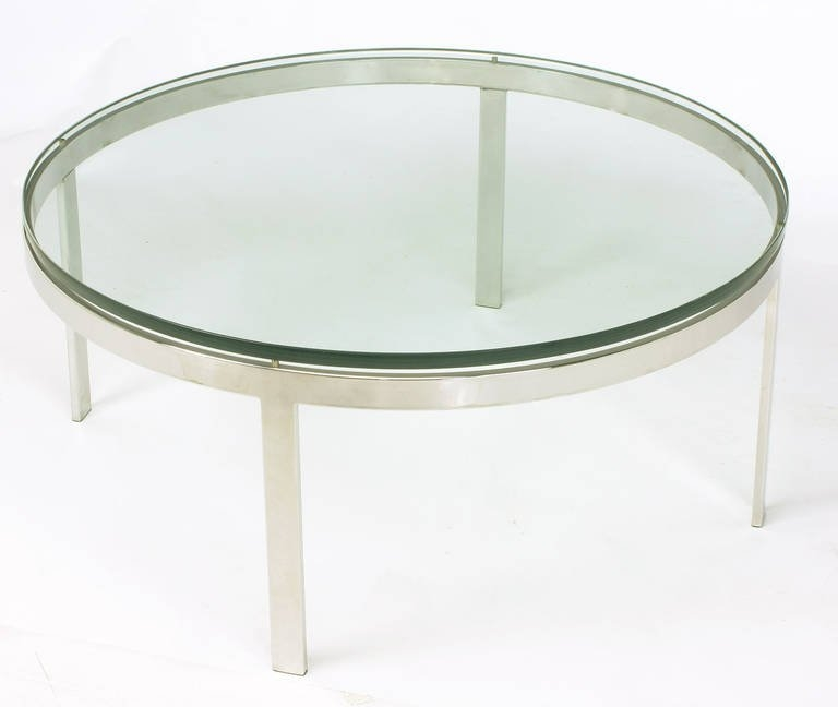 Amazing Widely Used Floating Glass Coffee Tables With Round Nickel Over Steel Floating Glass Coffee Table For Sale At (Image 4 of 50)