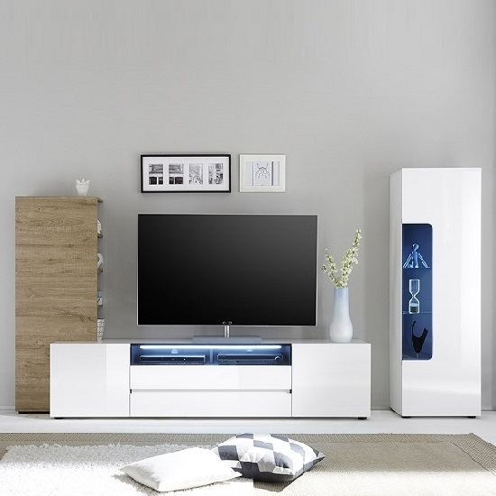 Amazing Widely Used High Gloss White TV Stands Regarding Genie Wide Tv Stand In High Gloss White With Led Lighting (Image 3 of 50)