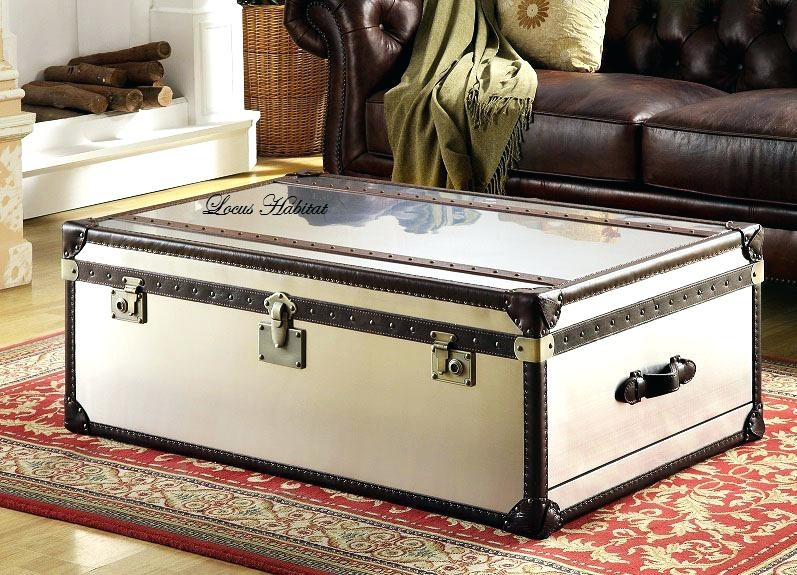Amazing Widely Used Large Trunk Coffee Tables Inside Mirrored Trunk Coffee Table Blackbeardesignco (Image 6 of 50)