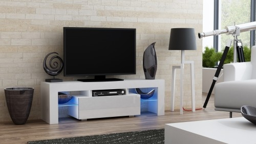 Amazing Widely Used Milano TV Stands Pertaining To Tv Stand Milano White 130 Mat Body High Gloss Fronts Led 4 Colours (Image 4 of 50)