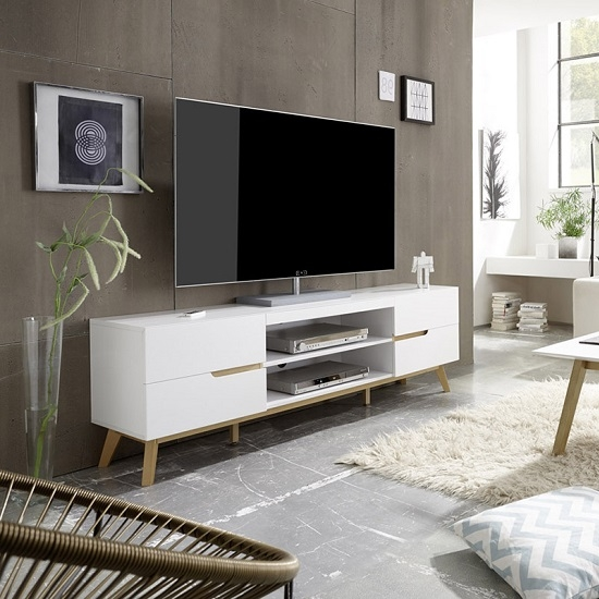 Amazing Widely Used Oak Veneer TV Stands Inside Merina Lowboard Tv Stand In Matt White And Oak With  (Image 7 of 50)
