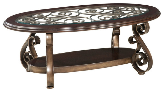 Amazing Widely Used Oval Black Glass Coffee Tables Regarding Coffee Table Traditional Glass Top Coffee Table Standard (Image 5 of 50)