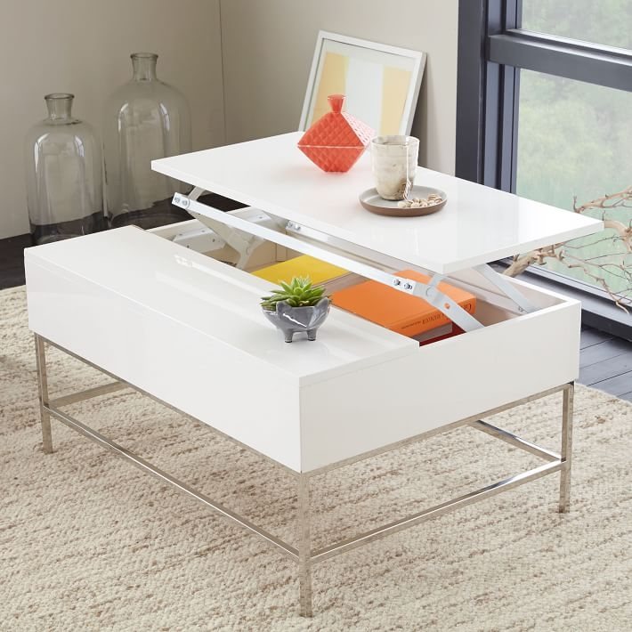 Amazing Widely Used White Coffee Tables With Storage Throughout Lacquer Storage Coffee Table West Elm (View 39 of 50)