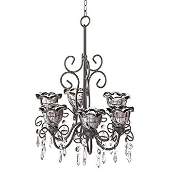 Amazon Midnight Blooms Hanging Candle Chandelier With Regarding Hanging Candle Chandeliers (Image 3 of 25)