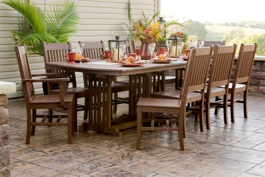 Amish Outdoor Wood And Polywood Dining Tables From Dutchcrafters With Outdoor Dining Table And Chairs Sets (Image 3 of 20)