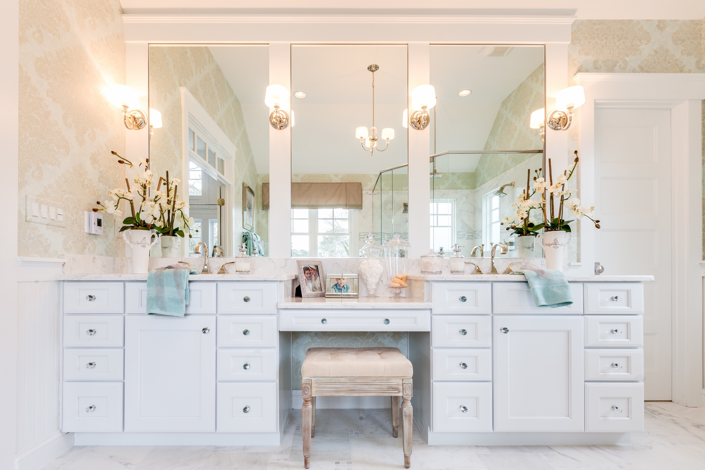 An Elegant Shade Surrounding Progress Lightings Niss With Chandelier Bathroom Vanity Lighting (Image 1 of 25)
