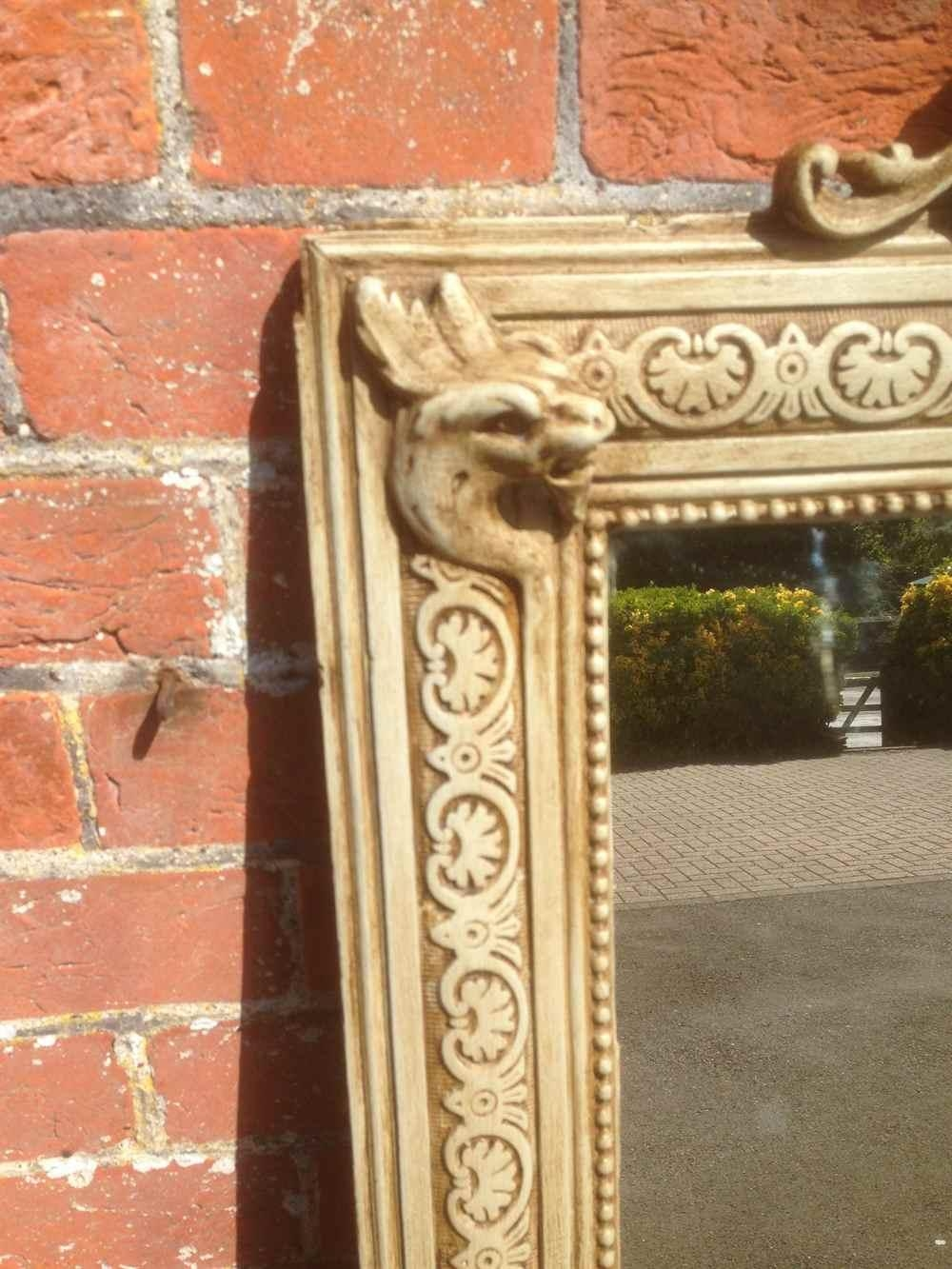 An Unusual Large Antique 19Th Century French Carved Wood & Gesso Pertaining To Unusual Large Mirrors (Image 12 of 20)