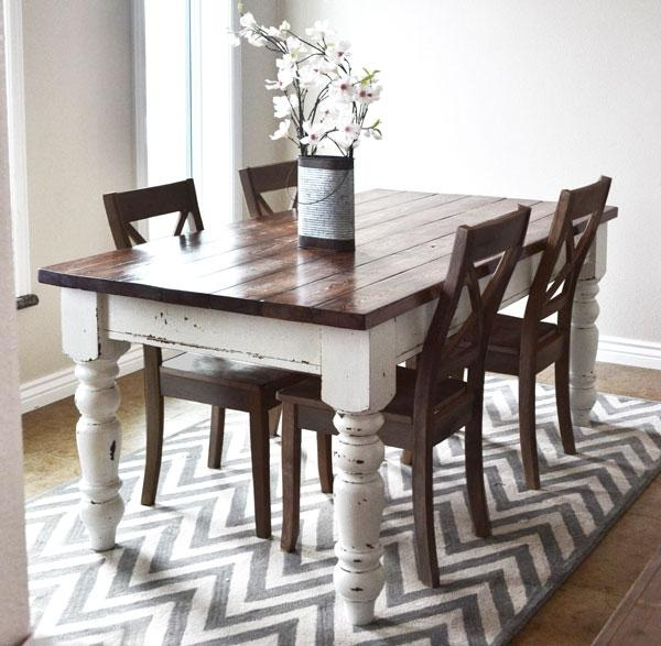 Ana White | Husky Farmhouse Table – Diy Projects With Regard To Dining Tables With White Legs (Image 3 of 20)