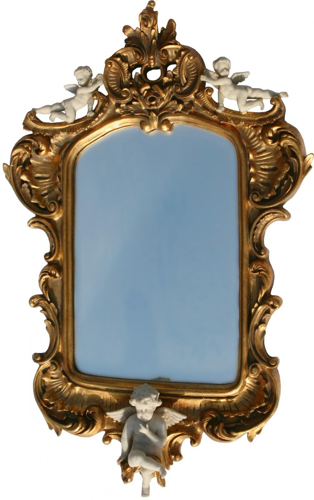 Angel Motif Baroque Mirror In Gold Wooden Frame With Three White Intended For Gold Baroque Mirror (Image 3 of 20)