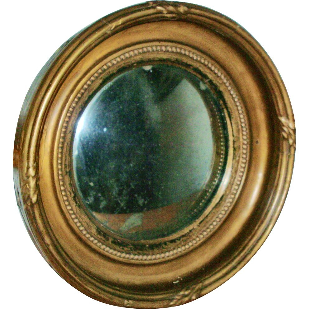 Antique 19Th Century English Regency Carved & Gilt Wood Convex Intended For Small Convex Mirrors For Sale (Image 1 of 20)