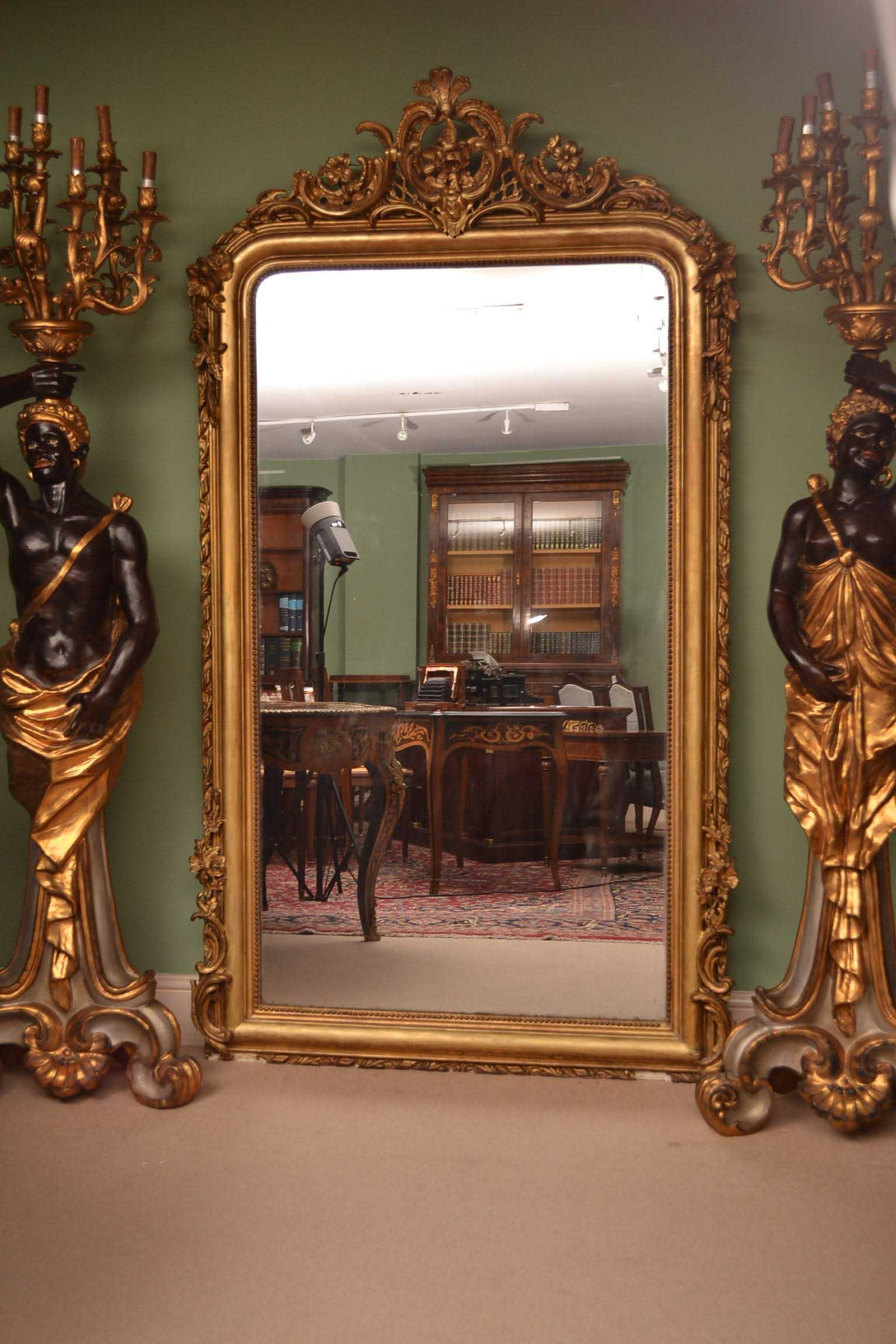 Antique Elegant French Giltwood Overmantle Mirror Within Vintage Overmantle Mirror (Image 1 of 20)