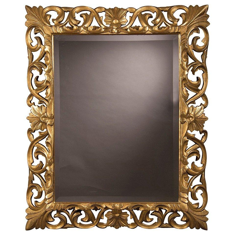 "Antique French Baroque Style Gold Beveled Mirror, 1875 (35 1/2""w X With Gold Antique Mirror (Image 3 of 20)"
