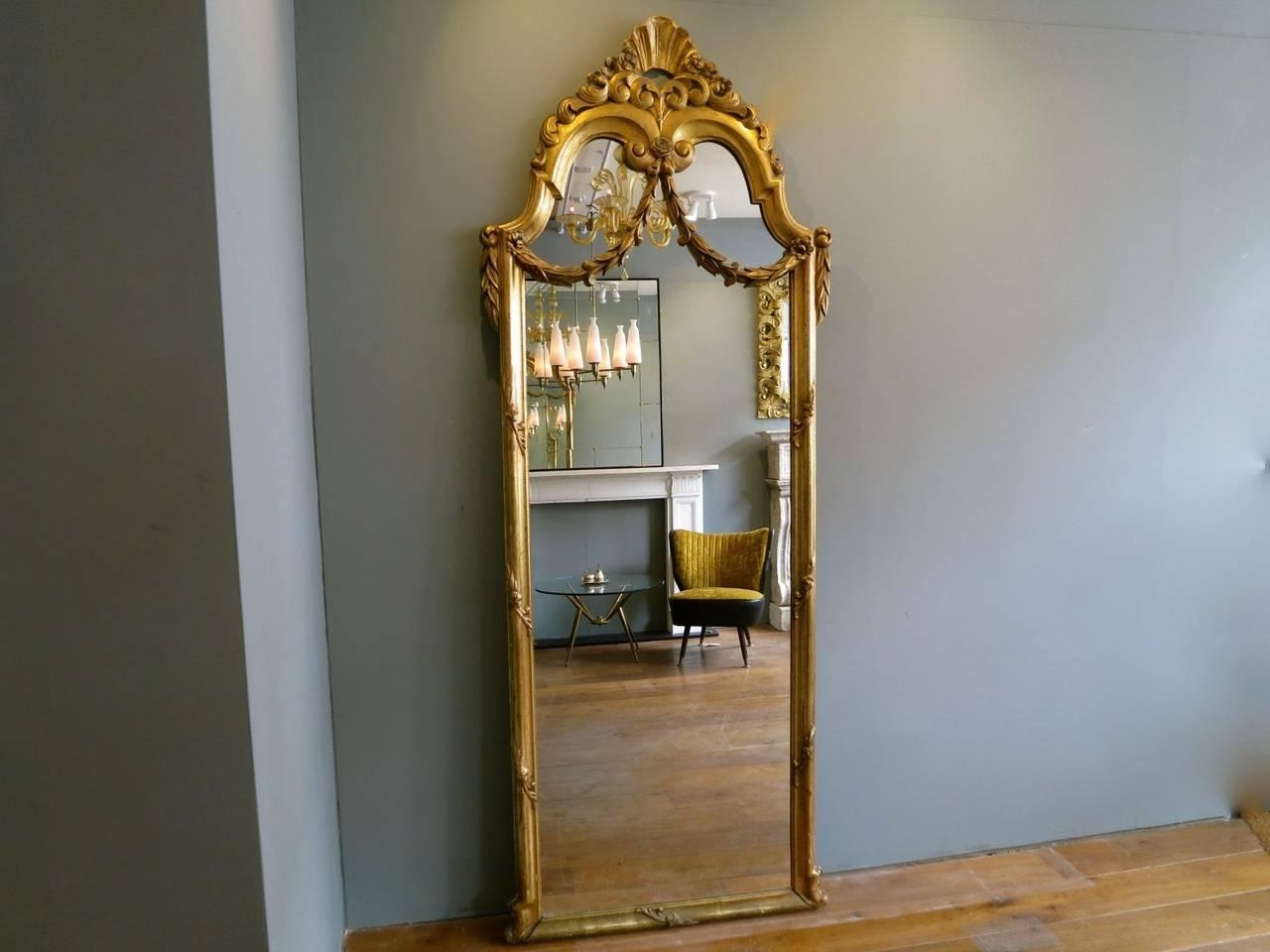 Antique French Gold Gilt Floor Standing Mirror At 1Stdibs In Antique Gilt Mirror (Image 7 of 20)
