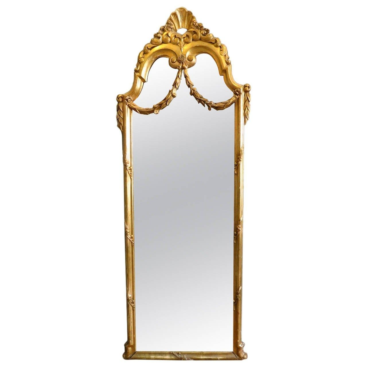 Antique French Gold Gilt Floor Standing Mirror At 1Stdibs Within Gold Gilt Mirror (Image 2 of 20)