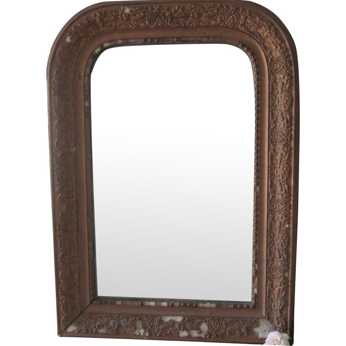 Antique French Mantle Mirror With Decorative Gold Detailing From With Regard To Mantle Mirror (Image 2 of 20)