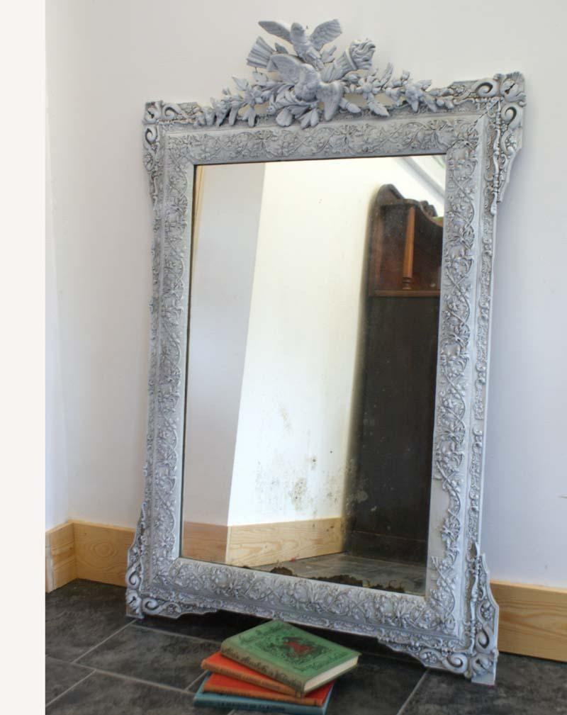 Antique French Mirror Distressed – Shabby Chic Grey Painted Within Chabby Chic Mirror (Image 3 of 20)