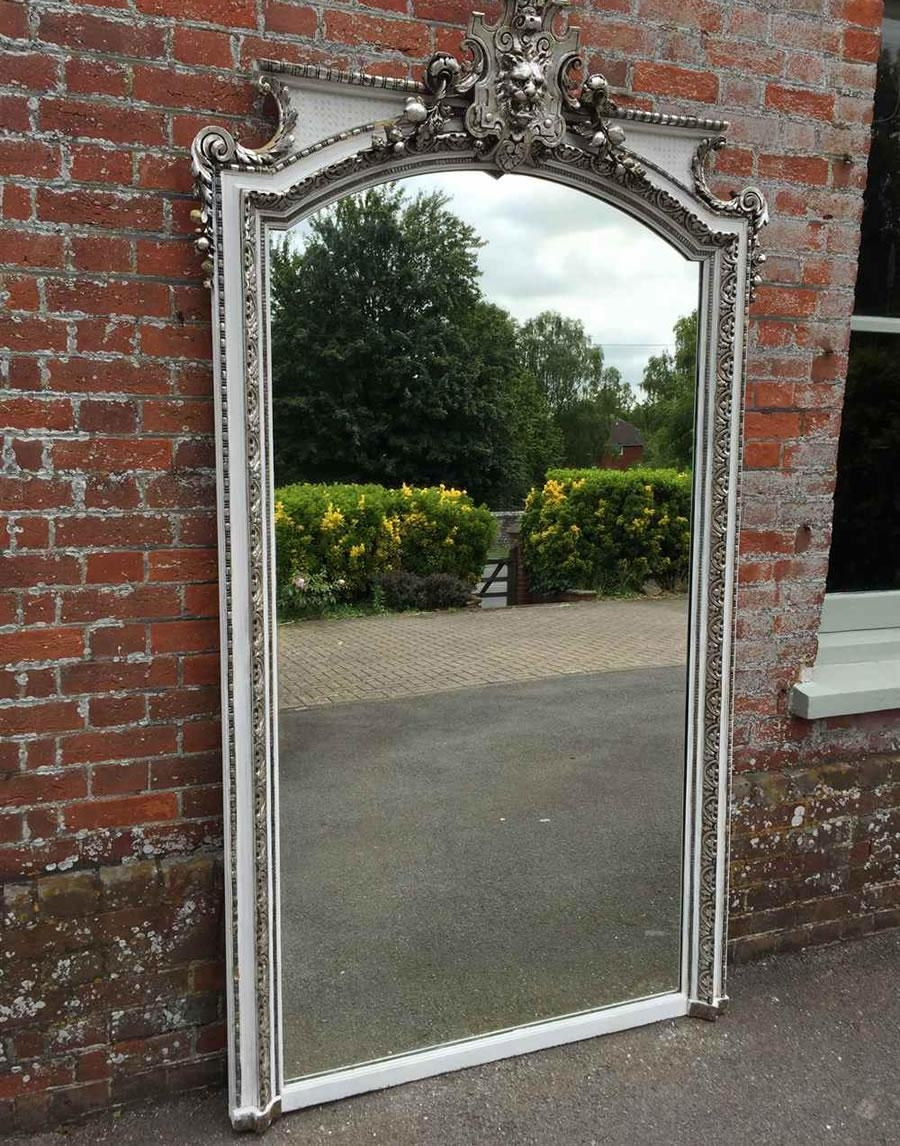 Antique French Mirrors, Antique Silver Framed Mirrors, Large Gilt Inside Vintage Overmantle Mirror (Image 2 of 20)