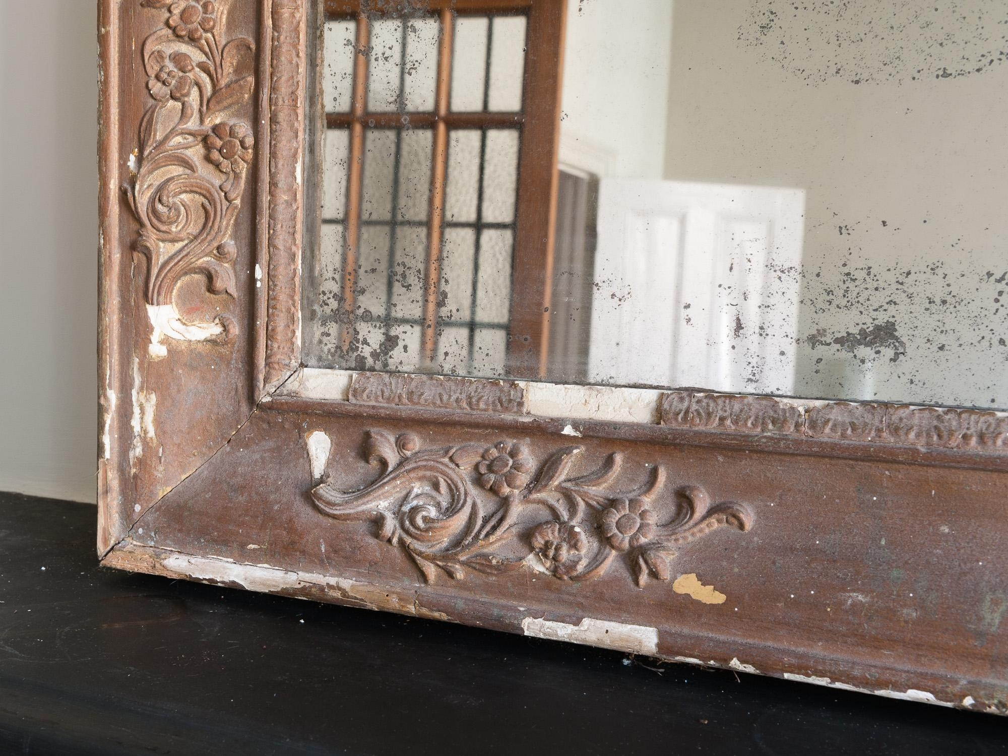 Antique French Overmantel Foxed Glass Mirror – Retro Living Regarding French Mirrors Antique (Image 11 of 20)