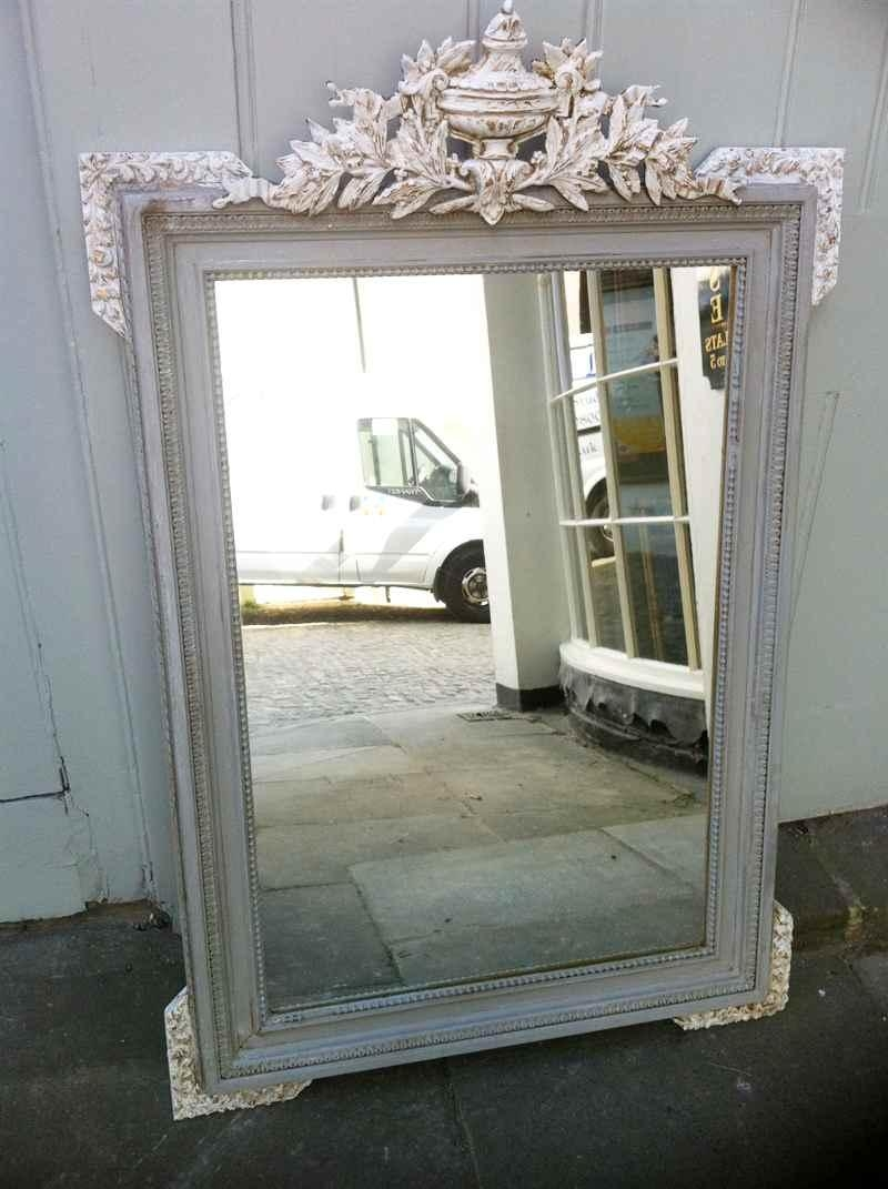 Antique French Painted Urn Crested Wall Mirror (Image 4 of 20)