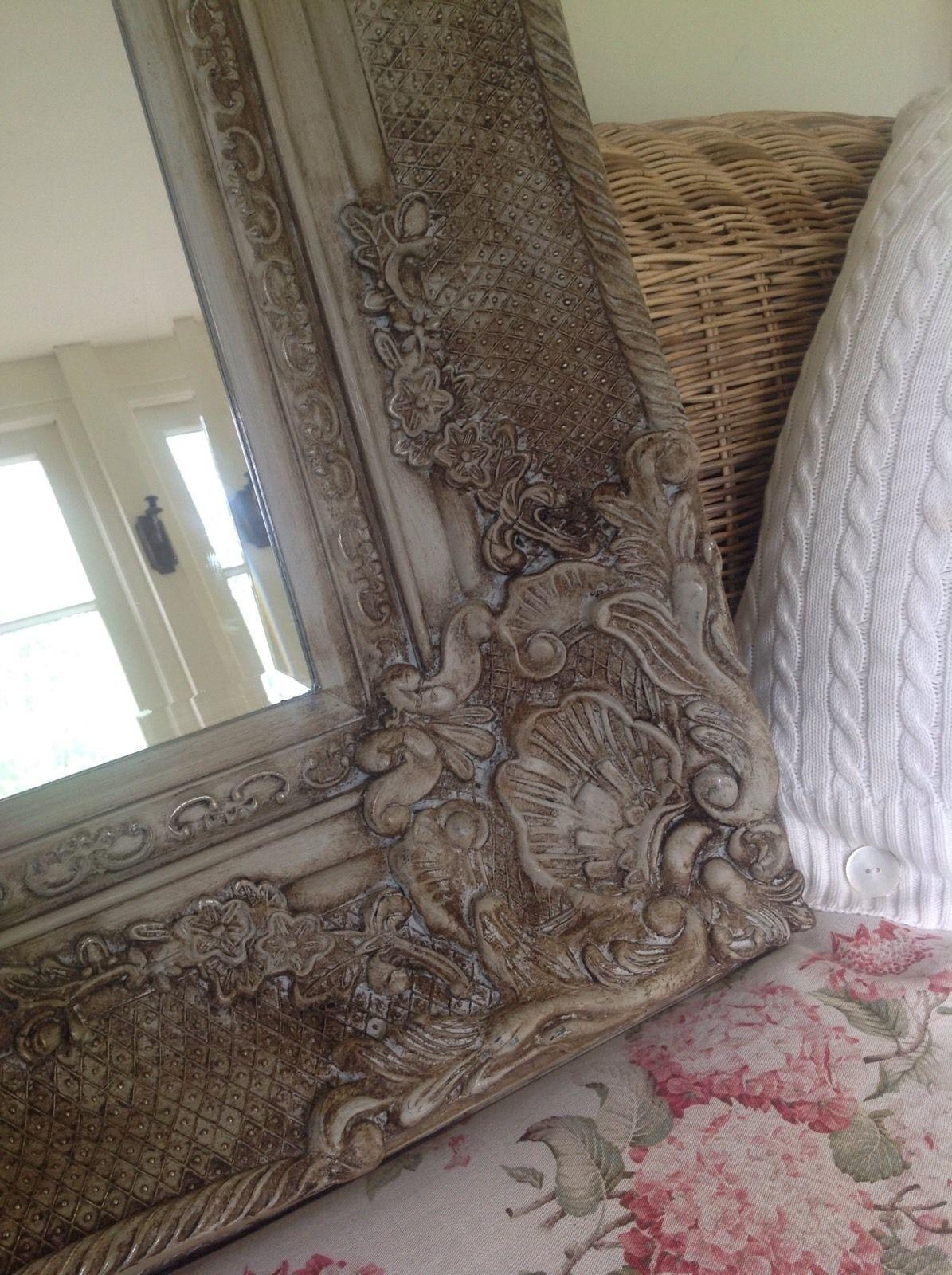Antique French Style Bevelled Wall Mirror Carved Painted Grey For French Style Wall Mirror (Image 2 of 20)