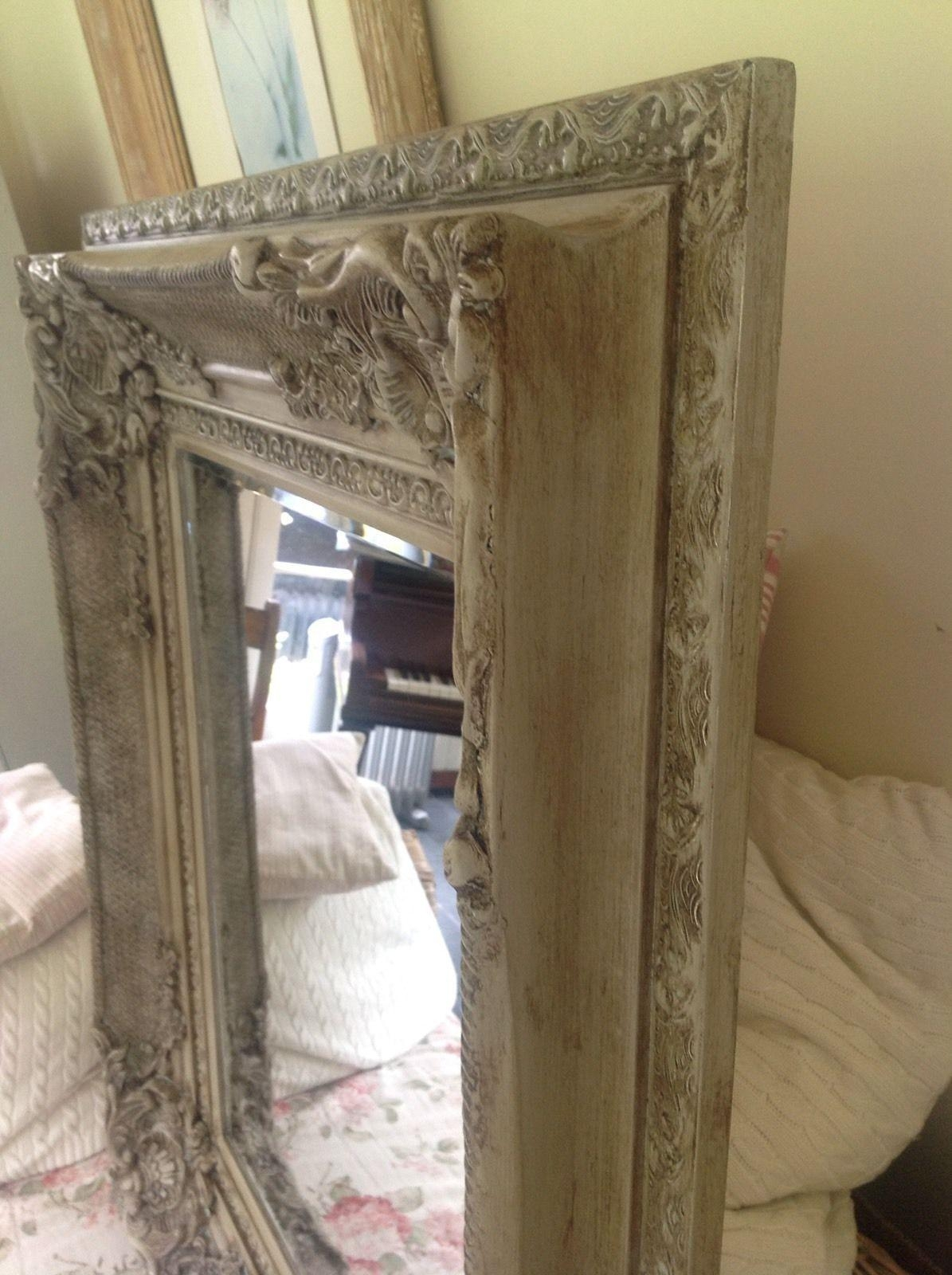 Antique French Style Bevelled Wall Mirror Carved Painted Grey With French Style Wall Mirror (Image 3 of 20)