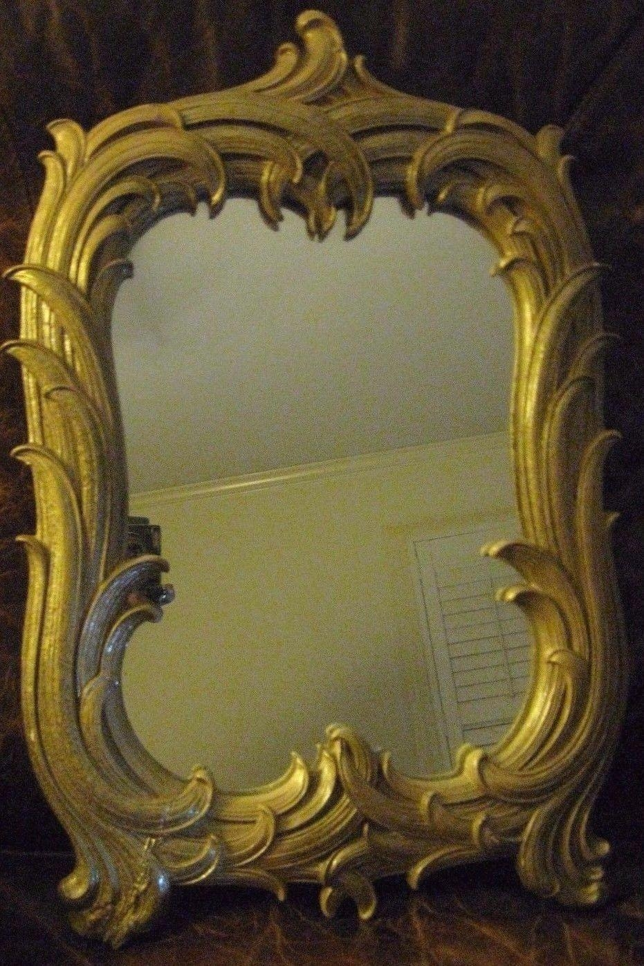 Antique Gilt Mirror With Palm Leaf Frame On Reflection Design With Regard To Antique Gilt Mirror (Image 10 of 20)