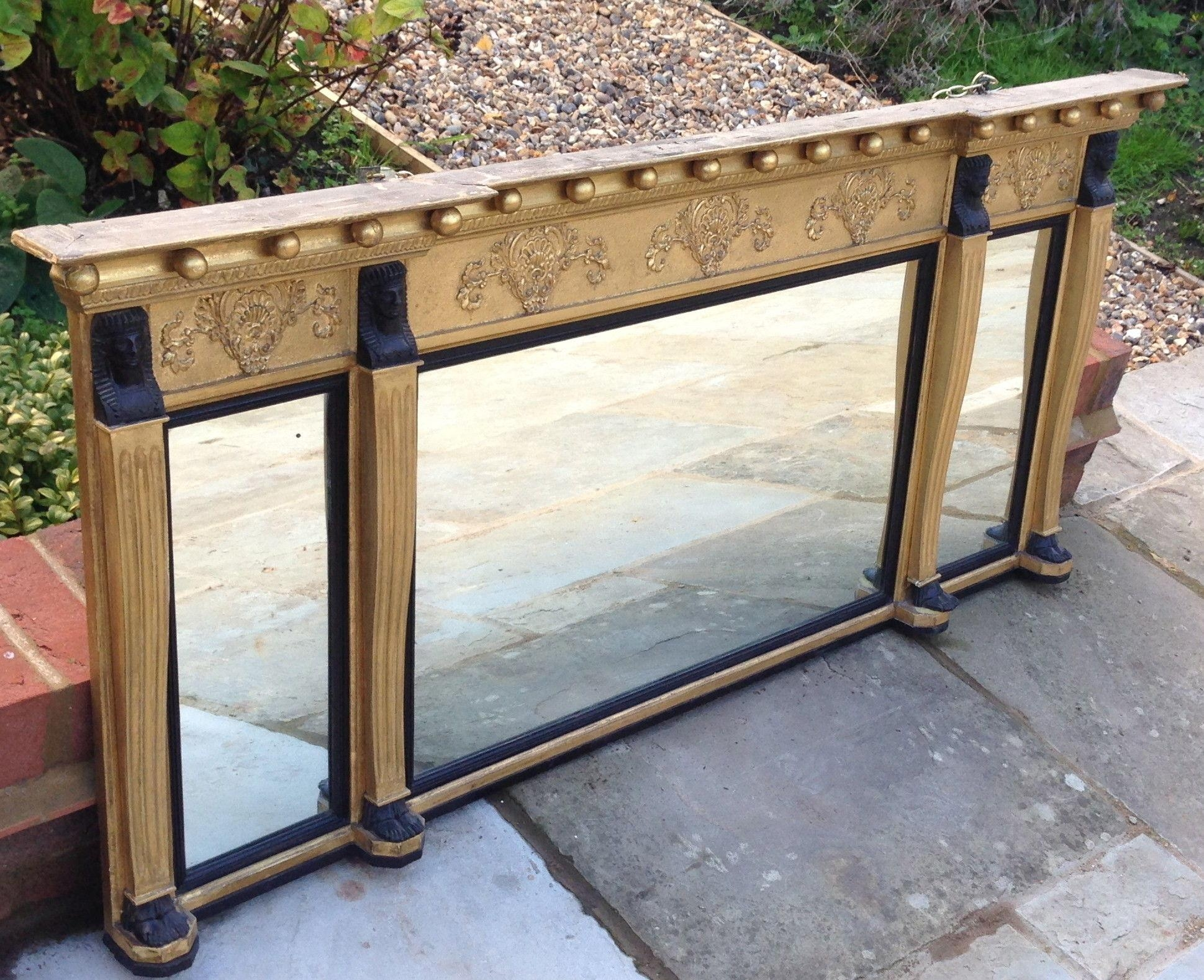 Antique Gilt Overmantle Mirror. (C (Image 3 of 20)