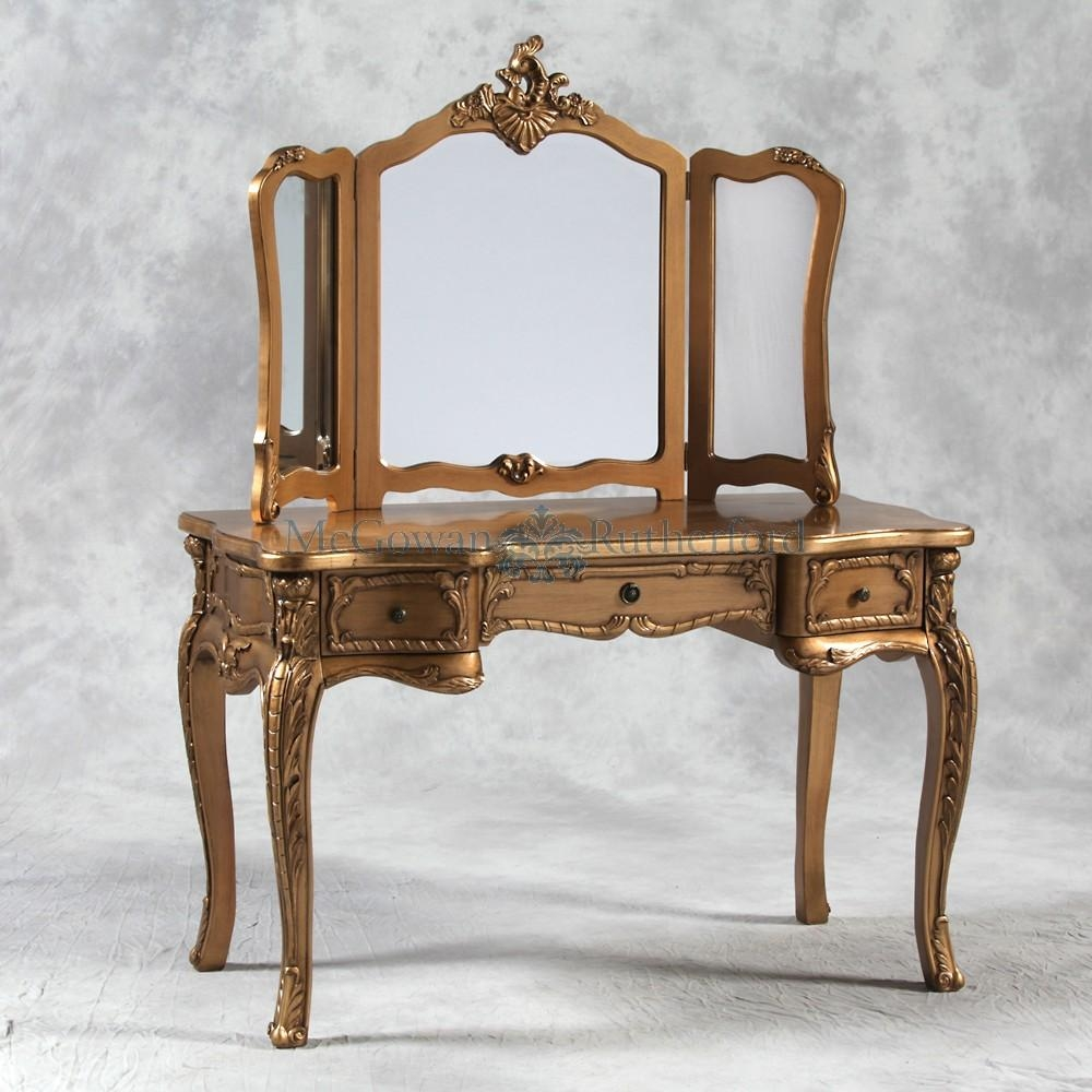 Antique Gold French Style Large Dressing Table And Mirror Within Gold Dressing Table Mirror (Image 3 of 20)