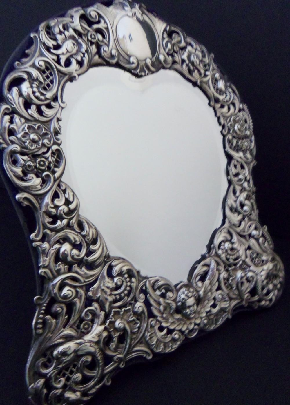 Antique Heart Shaped Silver Mirror – 1901 | 303439 Inside Antique Silver Mirror (View 15 of 20)