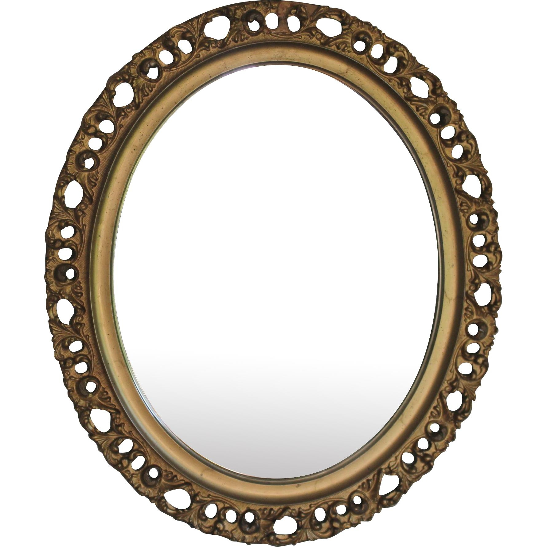 Antique Italian Gilt Wood Florentine Oval Mirror From For Large Oval Mirror (Image 2 of 20)