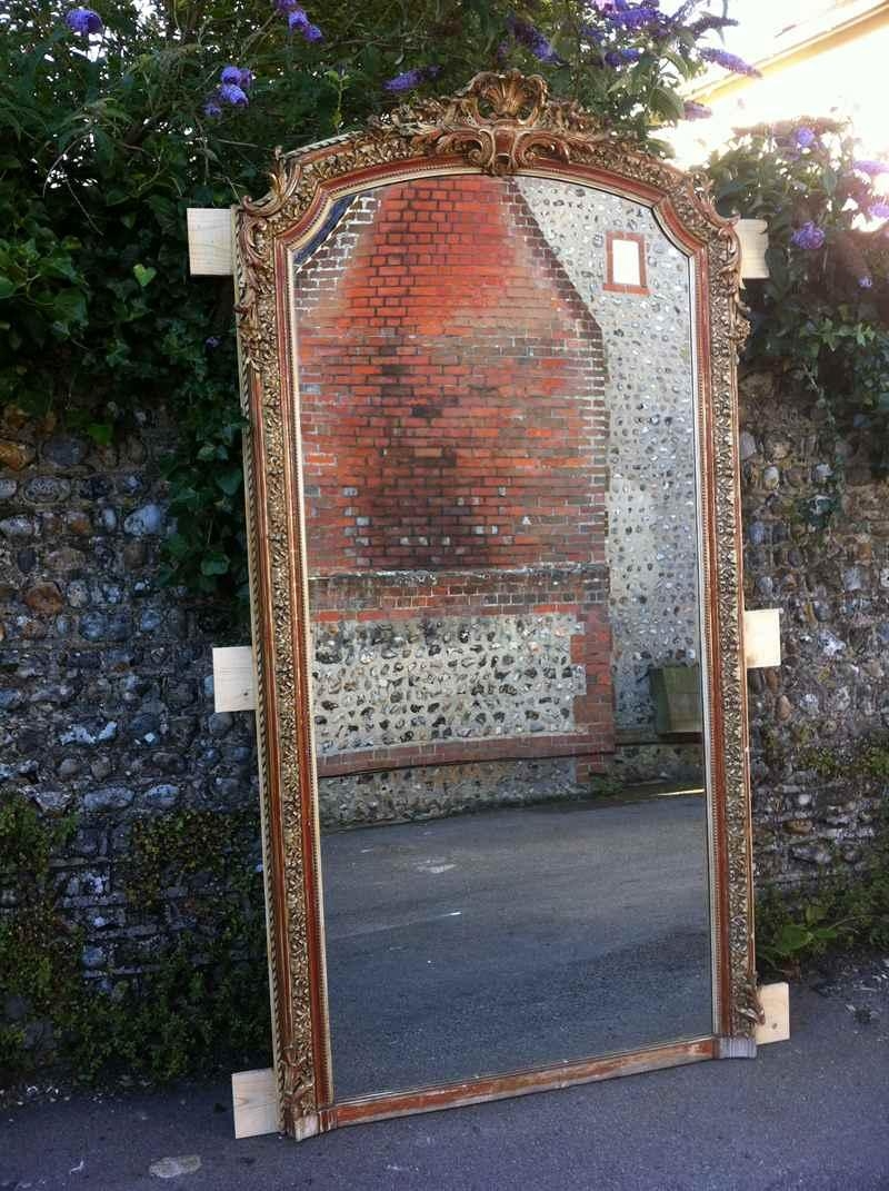 Antique Large French Gilt Ornate Wall Mirror – Antique All Our Throughout Antique Mirrors For Sale (View 13 of 16)