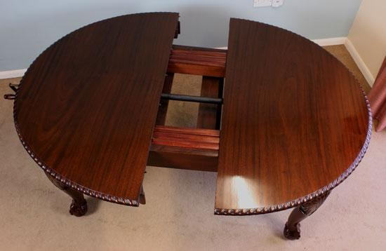 Antique Mahogany Large Extending Dining Table, Chippendale Style Throughout Mahogany Extending Dining Tables (Image 5 of 20)