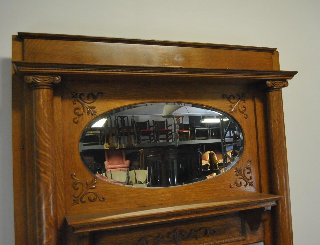 Antique Quarter Sawn Oak Fireplace Mantle With Oval Beveled Mirror In Mantle Mirror (Image 4 of 20)