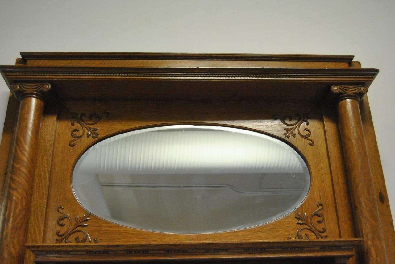 Antique Quarter Sawn Oak Fireplace Mantle With Oval Beveled Mirror Intended For Mantle Mirror (Image 5 of 20)
