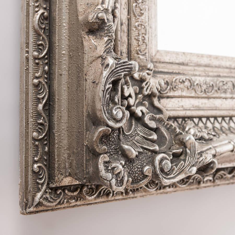 Antique Silver Ornate Rococo Mirrorhand Crafted Mirrors Inside Antique Silver Mirror (Image 5 of 20)