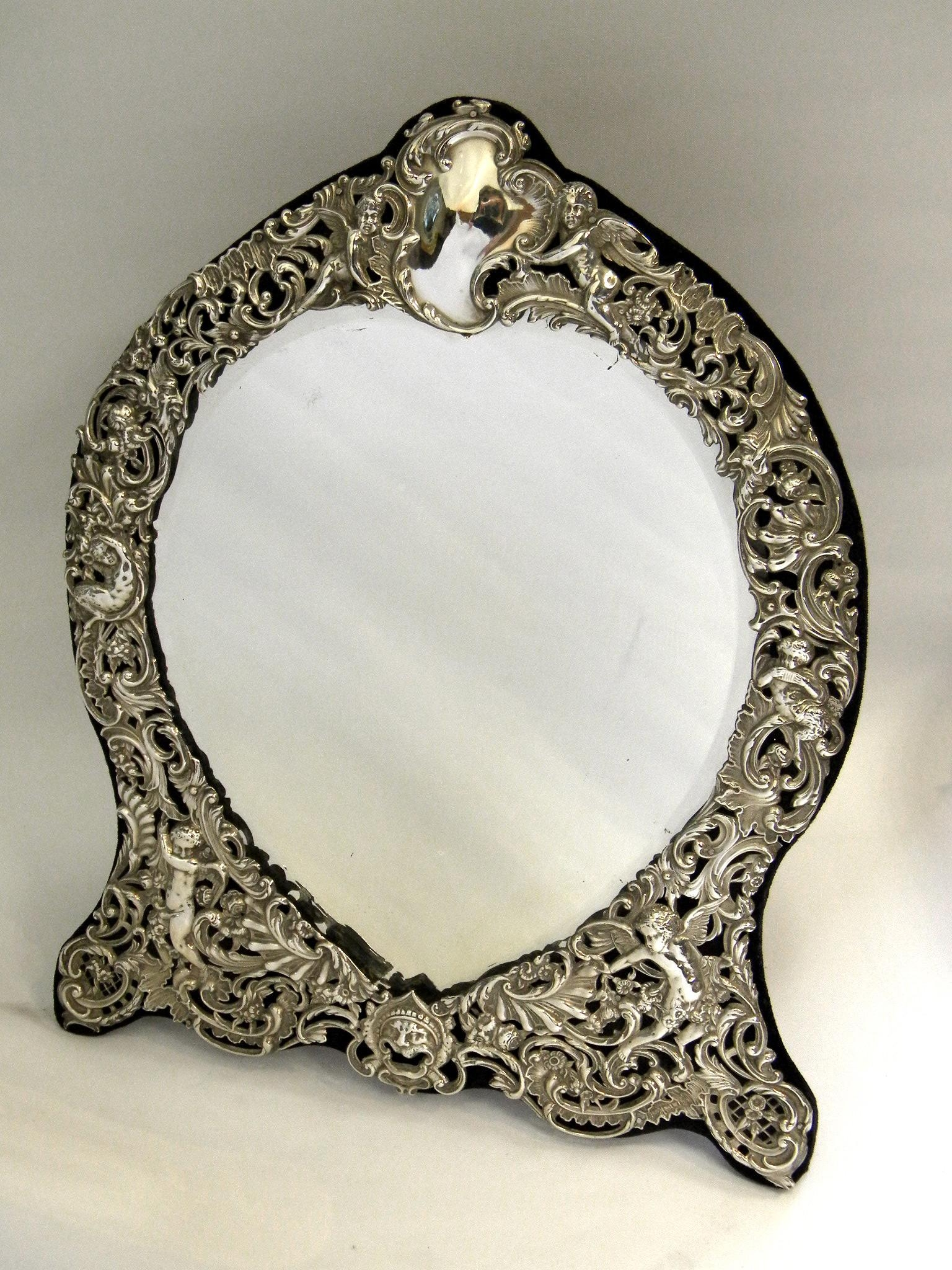 Antique Solid Silver Victorian Style Dressing Table Mirror London Within Victorian Style Mirrors (View 6 of 20)