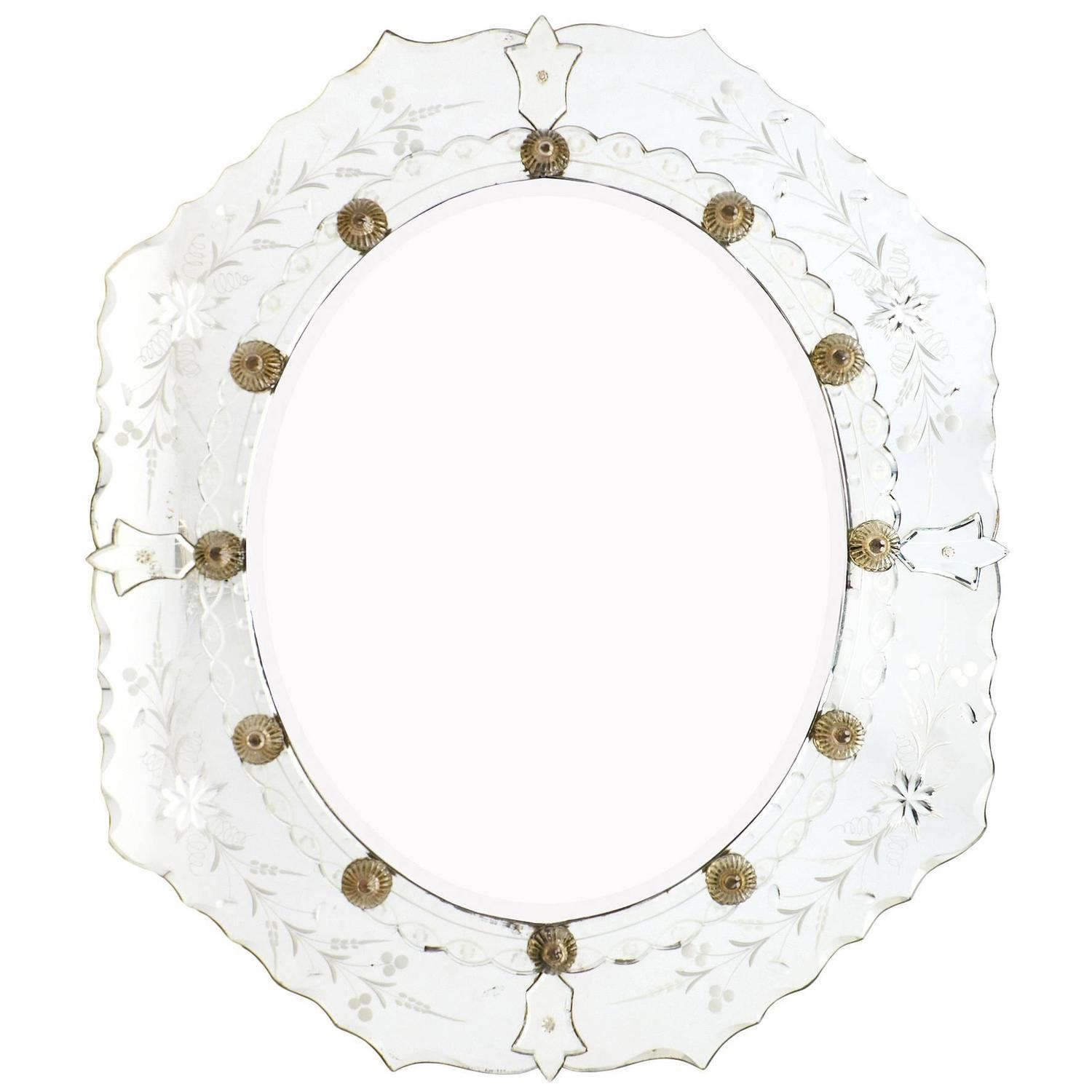 Antique Venetian Etched Mirror At 1Stdibs Inside Venetian Oval Mirror (Image 2 of 20)