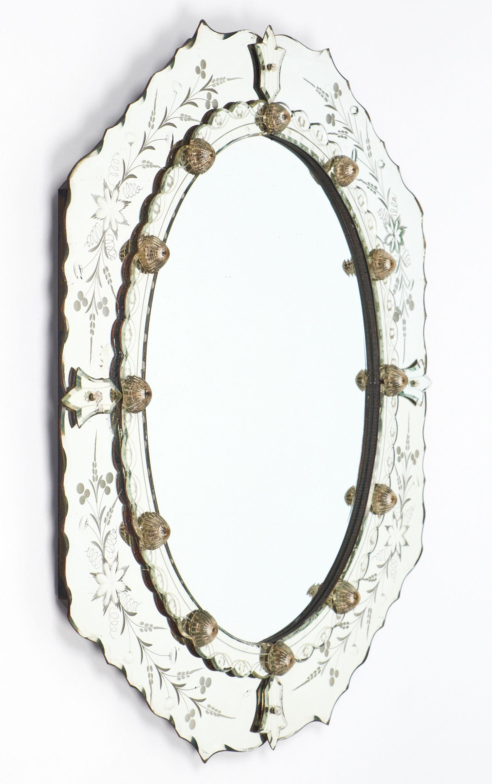 Antique Venetian Glass Oval Mirror – Jean Marc Fray With Regard To Venetian Oval Mirror (Image 3 of 20)