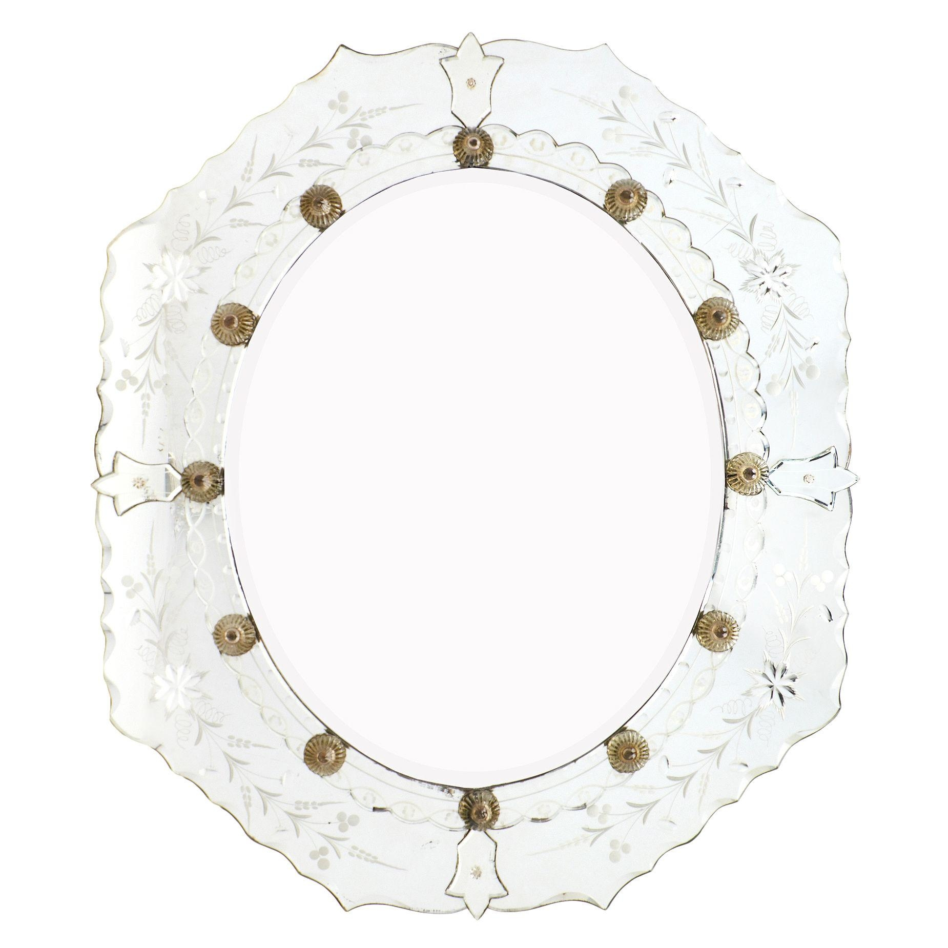 Antique Venetian Glass Oval Mirror – Jean Marc Fray With Venetian Oval Mirror (Image 4 of 20)