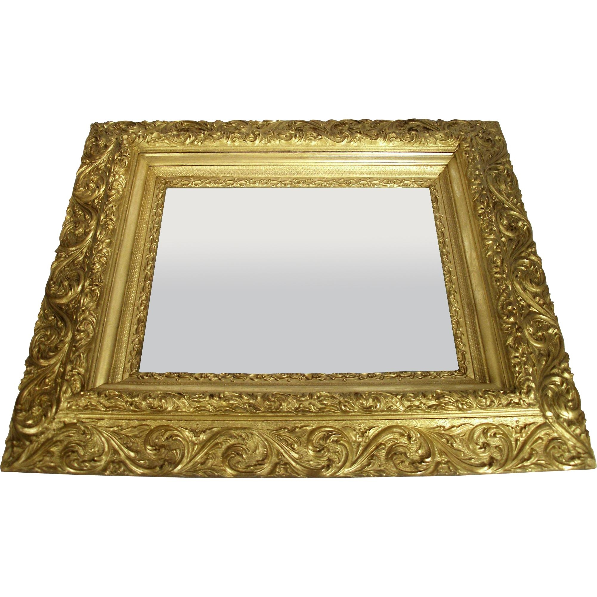 Antique Victorian Art Nouveau Gold Gilt Wood Frame Scroll Foliage With Art Nouveau Wall Mirror (Image 3 of 20)