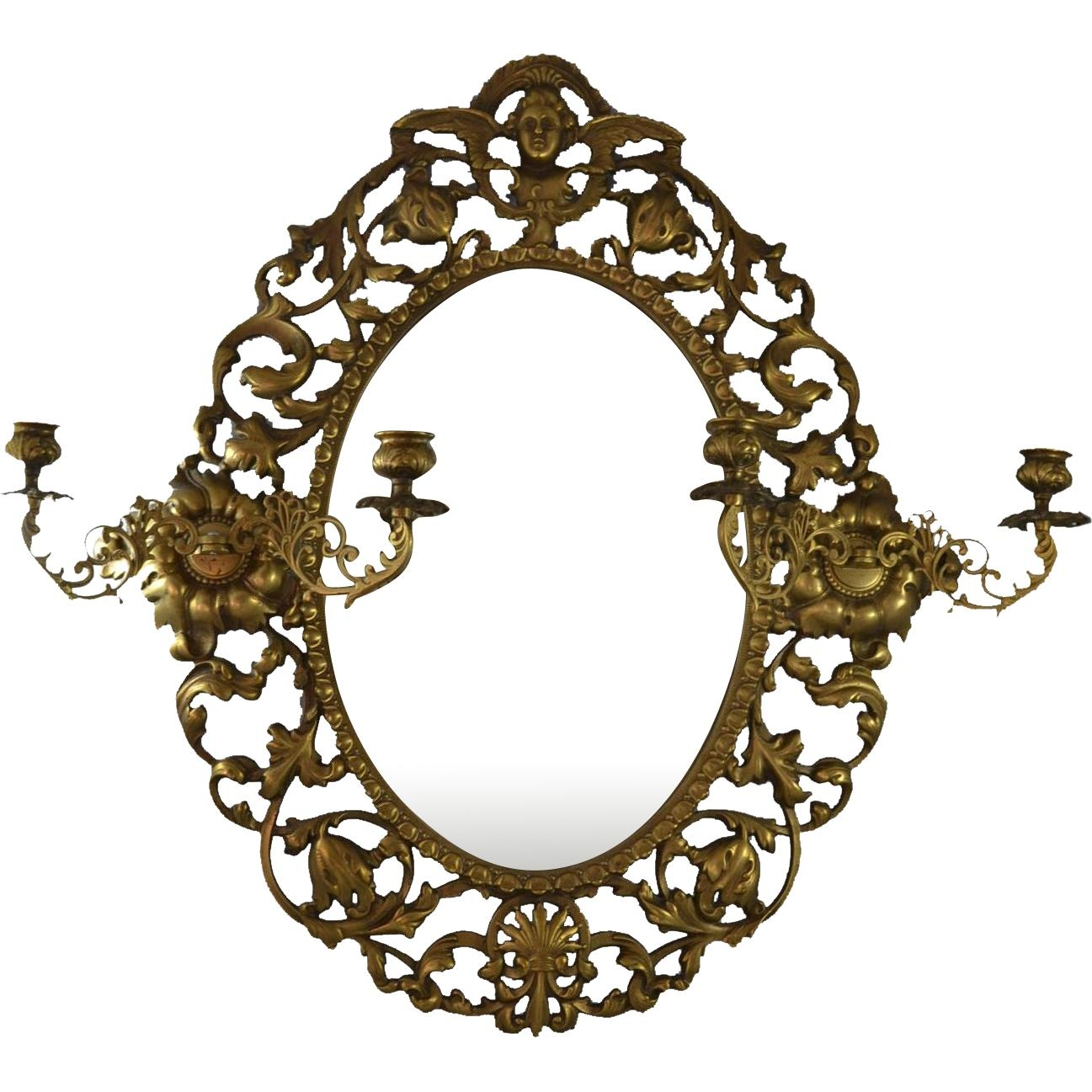 Antique Victorian Brass Cast Wall Mirror With Cherub Angel And 2 In Antique Wall Mirror (View 12 of 20)