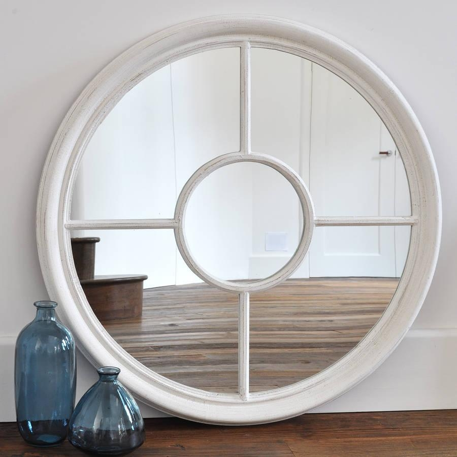 Antique White And Grey Round Window Mirrorprimrose & Plum For Round White Mirror (Image 2 of 20)