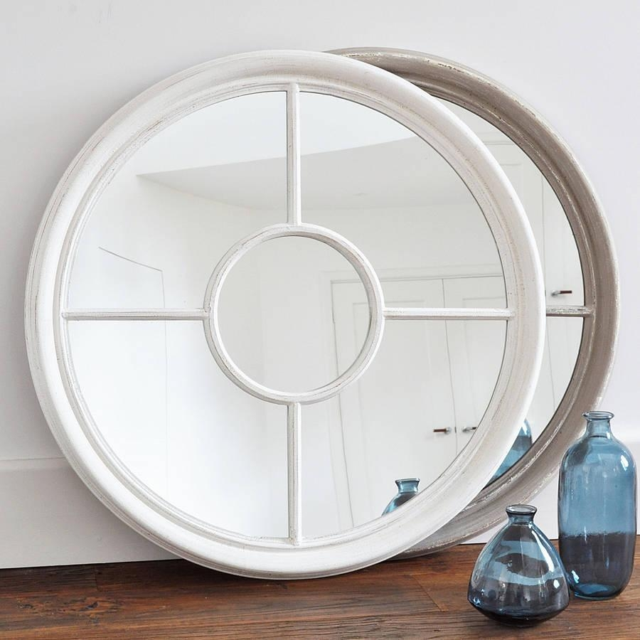 Antique White And Grey Round Window Mirrorprimrose & Plum Inside Round White Mirror (Image 3 of 20)