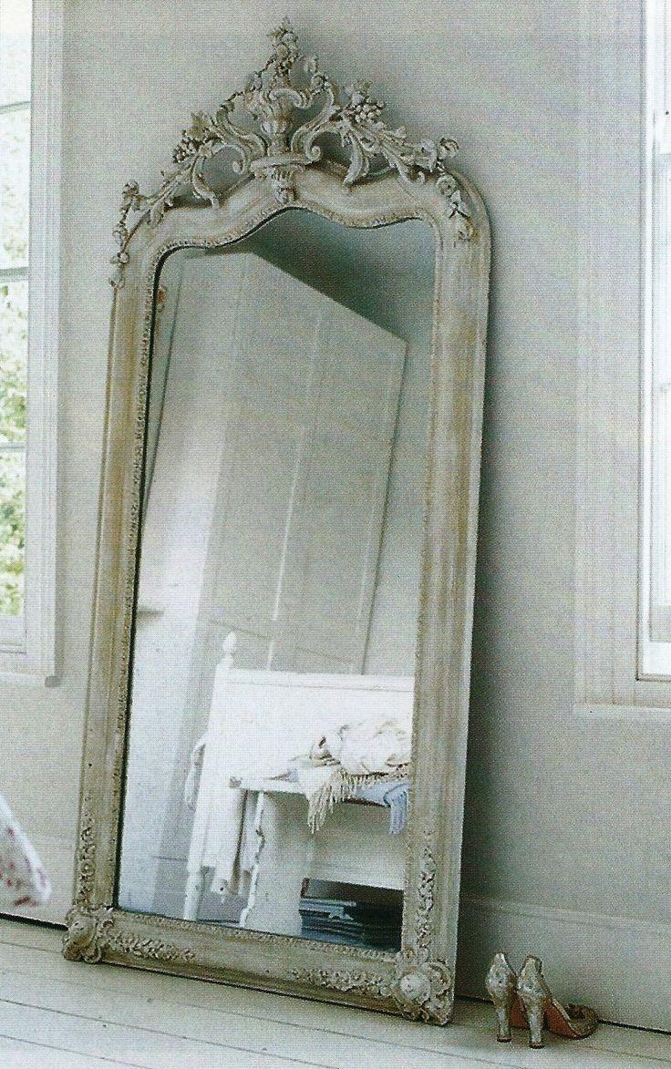 Antique White Floor Mirror – Harpsounds (Image 5 of 20)
