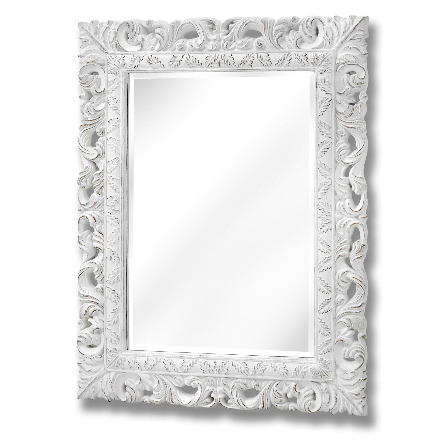Antique White Ornate Leaf Wall Mirror – Arijacks Regarding Antique Wall Mirror (Image 9 of 20)